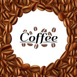 Coffee beans round frame background print Stock Photo