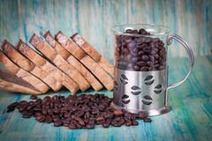 Coffee beans and rye bread Stock Photos