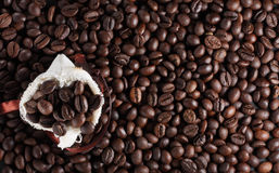 Coffee beans in a sack. With a lot of beans around it Royalty Free Stock Photos