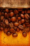 Coffee beans with sack Royalty Free Stock Photo