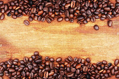 Coffee beans and sack background Stock Images