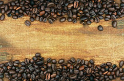 Coffee beans and sack background Stock Image