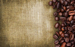 Coffee beans and sack background Royalty Free Stock Image