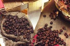Coffee beans into the sack Stock Photos
