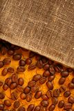 Coffee beans with sack Royalty Free Stock Images