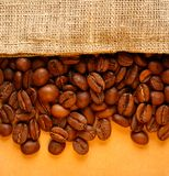 Coffee beans with sack Stock Image