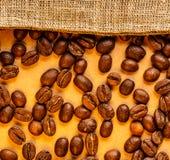 Coffee beans with sack Stock Photos