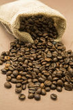 Coffee beans in sack Royalty Free Stock Image