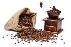 Coffee beans sack with coffee grinder still life Stock Photo