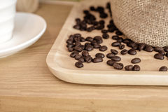 Coffee beans in a sack colored vintage Stock Photos