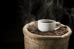 Coffee beans in the sack with cup of coffee. Sack full of still hot, freshly roasted coffee beans with the mug in the middle Royalty Free Stock Photos