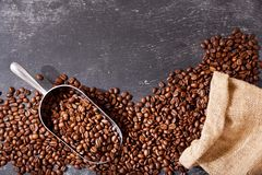 Coffee Beans in a Sack, top view Royalty Free Stock Images