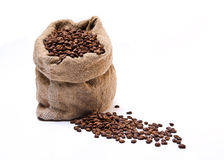 Coffee beans sack with scattered beans Stock Photo