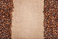 Coffee beans and sackcloth Royalty Free Stock Image