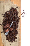 Coffee beans on sackcloth with a cupronickel spoon Royalty Free Stock Photography