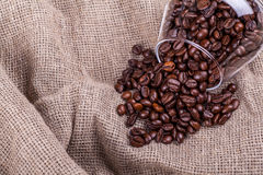 Coffee beans on sackcloth Stock Image