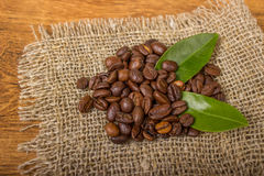 Coffee beans on sackcloth. Coffee beans with leaves on sackcloth Stock Photography