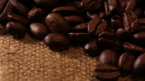 Coffee Beans and Sackcloth. Macro Royalty Free Stock Images