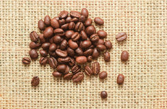 Coffee beans on sacking Royalty Free Stock Images