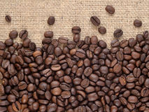 Coffee beans in a sacking background Stock Photos