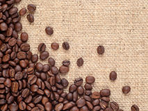 Coffee beans in a sacking background Royalty Free Stock Photography