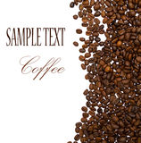 Coffee beans with sample text. On white stock photo