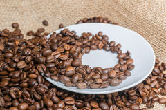 Coffee beans on the saucer. Royalty Free Stock Photo