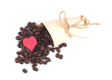 Coffee beans scattered, I love coffee Stock Images