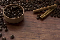Coffee. Beans scattered on the table Stock Photography