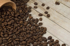 Coffee beans. Scattered on the table Stock Image