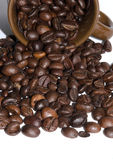 Coffee beans scattered on white background, brown coffee cup Royalty Free Stock Photography