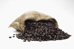 Coffee Beans Scattering Out Of Sack Stock Images
