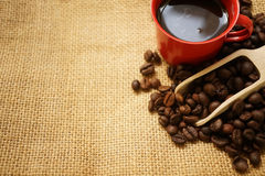Coffee beans , a scoop and coffee in a red cup. For background Stock Image