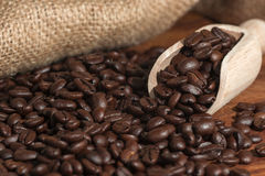 Coffee beans scoop sack Stock Images