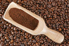 Coffee beans scoop Stock Photo