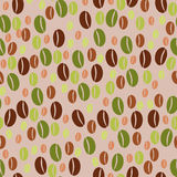 Coffee beans seamless pattern background. Green and roasted coffee beans seamless pattern background Stock Images