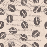 Coffee beans seamless pattern on beige background. Textile design, wallpaper, faded text, coffee beans seamless pattern on beige background Stock Image
