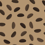 Coffee Beans Seamless Pattern. On Brown Background Stock Photography
