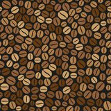 Coffee Beans Seamless Pattern on Dark Background. Vector Stock Image