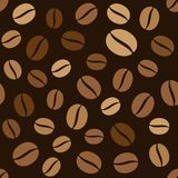 Coffee Beans Seamless Pattern on Dark Background Stock Photos