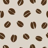 Coffee beans seamless pattern design. Brown coffee beans pattern for wrapping paper or textile fabric Royalty Free Stock Image