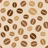 Coffee Beans Seamless Pattern on Light Background Royalty Free Stock Photography