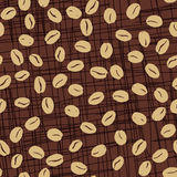 Coffee Beans Seamless Pattern. Seeds of coffee randomly placed on brown scratched background. Wrapping repeating texture. Hand drawn vector eps8 illustration Royalty Free Stock Photography