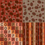 Coffee beans seamless pattern set Royalty Free Stock Photography