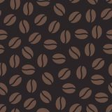 Coffee beans seamless pattern, vector background. Repeated dark brown texture for cafe menu, shop wrapping paper.  Royalty Free Stock Image