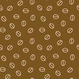 Coffee beans seamless pattern, vector background. Repeated dark brown texture for cafe menu, shop wrapping paper. Flat. Line icons Royalty Free Stock Images