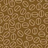 Coffee beans seamless pattern, vector background. Repeated dark brown texture for cafe menu, shop wrapping paper. Flat. Line icons Stock Image