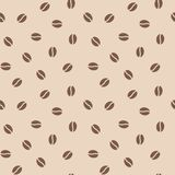 Coffee beans seamless pattern, vector background. Repeated light brown texture for cafe menu, shop wrapping paper.  Stock Image