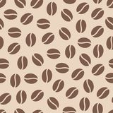 Coffee beans seamless pattern, vector background. Repeated light brown texture for cafe menu, shop wrapping paper.  Stock Photography