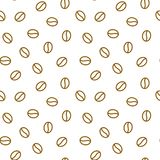 Coffee beans seamless pattern, vector background. Repeated light brown texture for cafe menu, shop wrapping paper. Flat. Line icons Stock Image